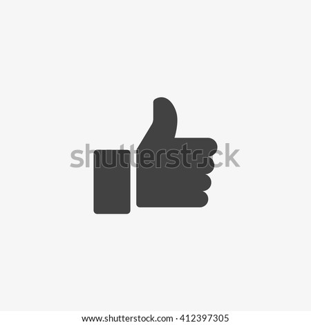 Thumb up Icon in trendy flat style isolated on grey background. Good symbol for your web site design, logo, app, UI. Vector illustration, EPS10.