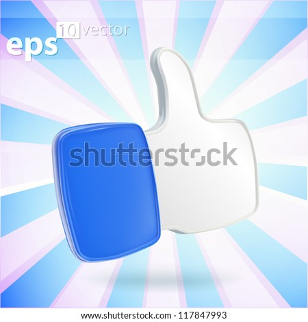Thumb up like glossy plastic dimensional blue eps10 vector icon emblem