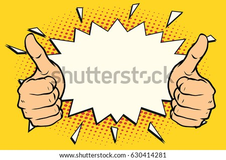 thumb up like. Pop art retro vector illustration