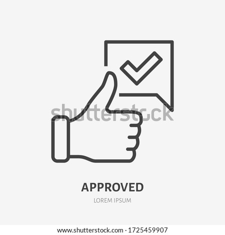 Thumb up line icon, vector pictogram of approve. Best choice illustration, sign for vote. Foto stock ©