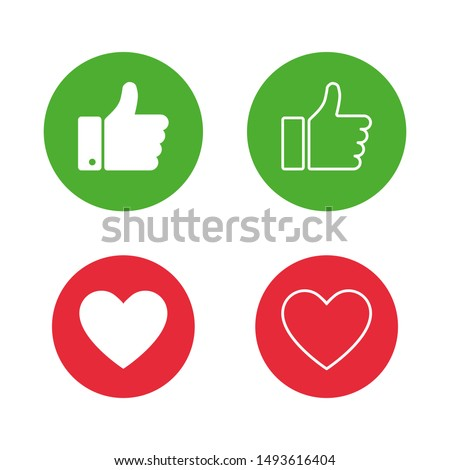 Thumb up on green circle and heart on red circle isolated on white background. Hand icon. Flat button. Web button. Linear button. EPS 10