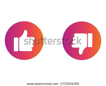 Thumb up or down icon. Ok and bad sign in rainbow style. Positive and negative choice. Isolated illustration of like or dislike decision. Social style of buttons.  Vector EPS 10