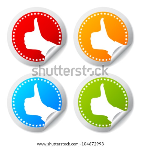 Thumb up stickers set, vector illustration