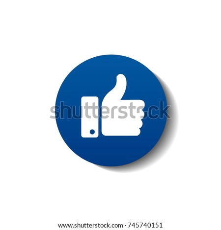 Thumb up symbol, finger up icon. Facebook like with shadow. Vector illustration
