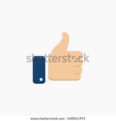 Thumb up symbol, finger up icon vector illustration. Like sign.