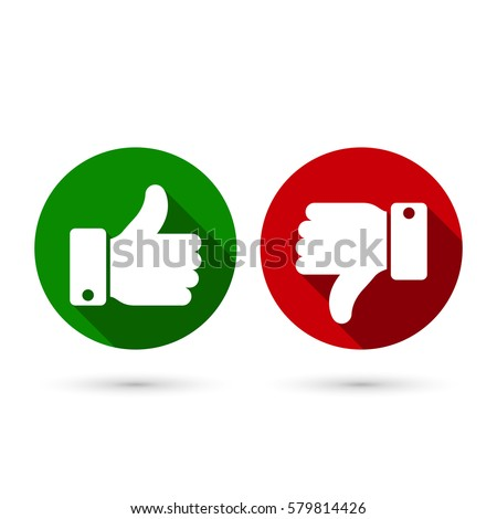 Thumb up, thumb down circle icon, green and red sillouettes. Vector evaluation symbol.
