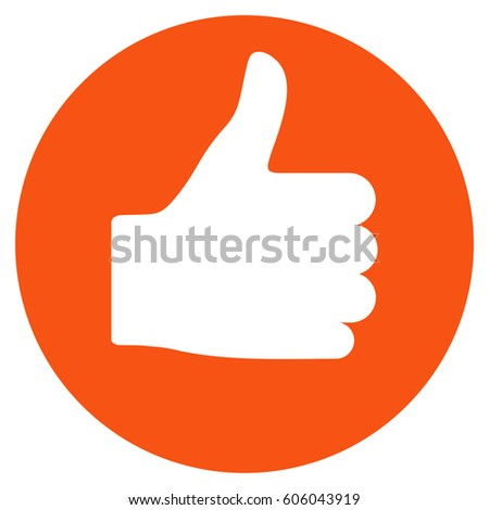 Thumb Up vector icon. Flat orange symbol. Pictogram is isolated on a white background. Designed for web and software interfaces.