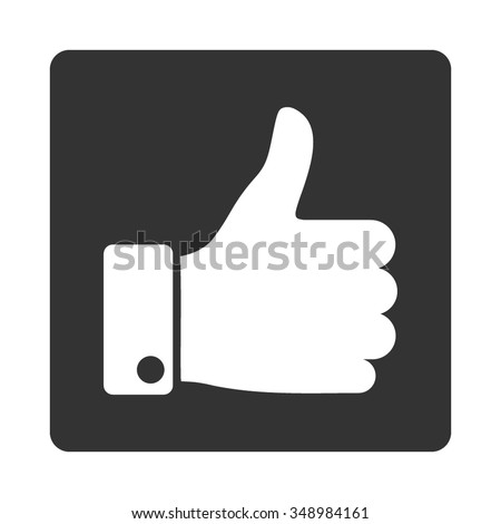 Thumb Up vector icon. Style is flat rounded square button, white and gray colors, white background. Success iconic illustration contains hand with large finger.