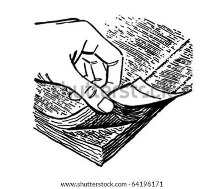 Thumbing Pages Of A Book - Retro Clipart Illustration