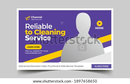 Thumbnail design for any videos. Cleaning service customizable video thumbnail and web banner template. Video cover photo template fully editable thumbnail for social media Foto stock ©