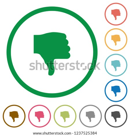 Thumbs down flat color icons in round outlines on white background