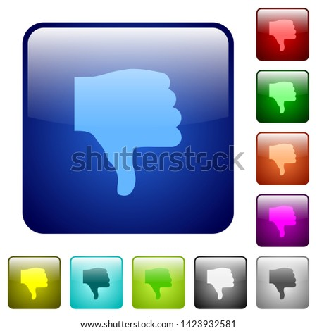 Thumbs down icons in rounded square color glossy button set
