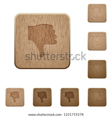 Thumbs down on rounded square carved wooden button styles