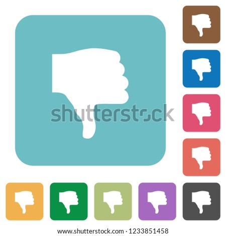 Thumbs down white flat icons on color rounded square backgrounds