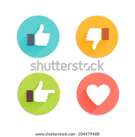 Thumbs up and down, heart signs on colorful round flat vector icons. Simple buttons with user feedback for social network, mobile app or web site design