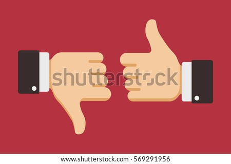 Thumbs up and down, like dislike icons for social network. Vector illustration.