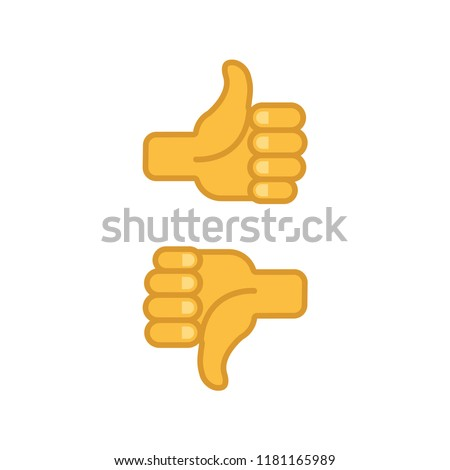 Thumbs up and down, positive and negative vote, like and dislike, vector icon