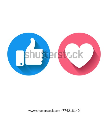 Thumbs up  and heart icon  on a white background.     facebook, facebook icon, social media icon, empathetic emoji reactions