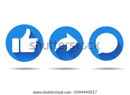 Thumbs up and heart icon with repost and comment icons on a white background.  Stockfoto ©