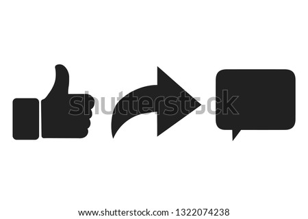 Thumbs up and heart icon with repost and comment icons on a white background. Eps10.