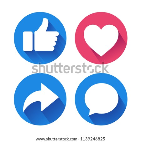 Thumbs up and heart icon with repost and comment icons on a white background. facebook, facebook icon, social media icon, empathetic emoji reactions