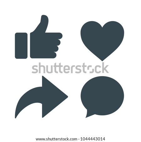 Thumbs up and heart icon with repost and comment icons on a white background. Social media icon, empathetic emoji reactions.