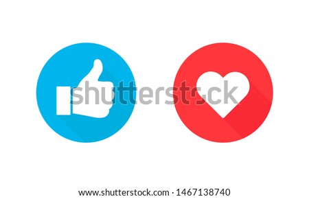 Thumbs up and heart, social media icon, empathetic emoji reactions. Vector Illustration. EPS 10 ストックフォト ©