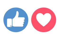Thumbs up and hearts isolated on a white background. Social media concept. Vector illustration.