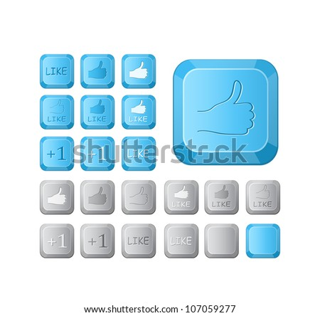 Thumbs up and like symbol on computer button key. Vector icon set