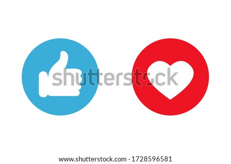 Thumbs up and love icons. Icons for social communication app. Like signs. Simple vector illustration. ストックフォト ©