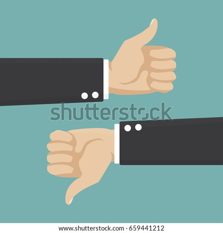 Thumbs Up and Thumbs Down. Businessman hand. Vector illustration