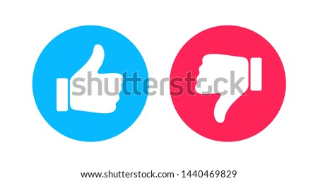 Thumbs up and thumbs down circle emblems. Like and dislike icons. Do and Don't symbols. Design Elements for smm, ad, marketing, ui, ux, app and more. Zdjęcia stock ©