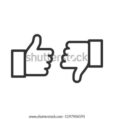 Thumbs up and thumbs down. Flat style - stock vector.