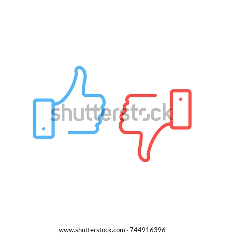 Thumbs up and thumbs down icons. Blue like button, red dislike button. Simple linear stroke, outline style. Modern graphic elements. Premium quality. Vector line icons set isolated on white background