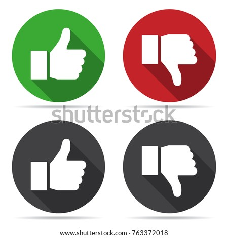 Thumbs up and thumbs down icons with shadow in a flat design