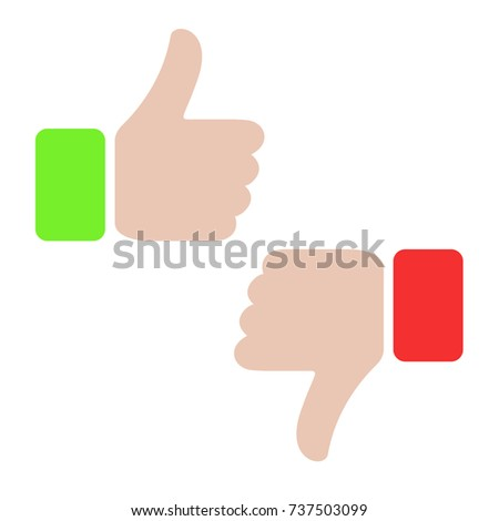 thumbs up and thumbs down  like