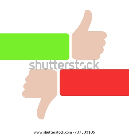 thumbs up and thumbs down, like and dislike concept. red and green hands with thumbs up or down. love or hate. plus, minus. true or false icon sign.