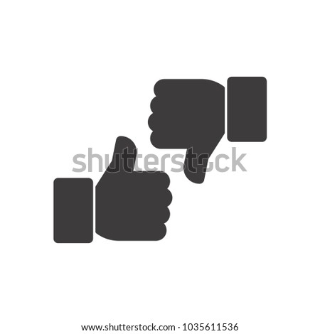 Thumbs up and thumbs down. Vector icon