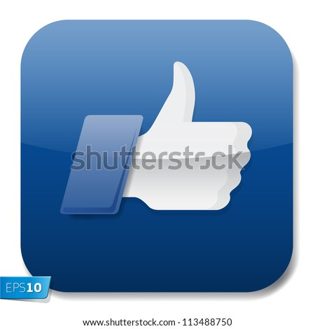Thumbs up button - like button, vector Eps 10 illustration