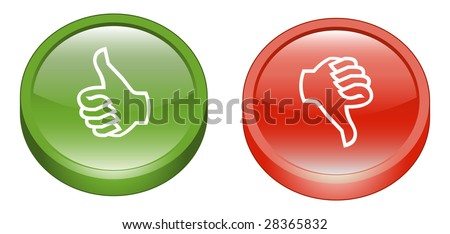 Thumbs Up & Down 3D Icon Buttons