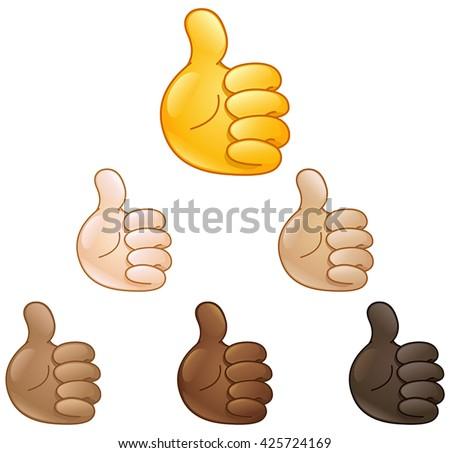 Thumbs up emoji hand set of various skin tones