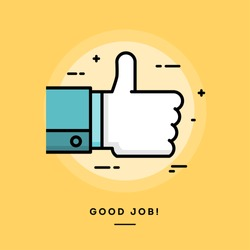 Thumbs up, flat design thin line banner, vector illustration