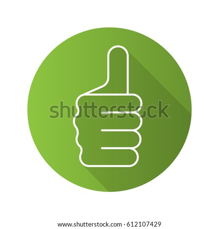 Thumbs up hand gesture. Flat linear long shadow icon. Approval and like sign. Vector line symbol