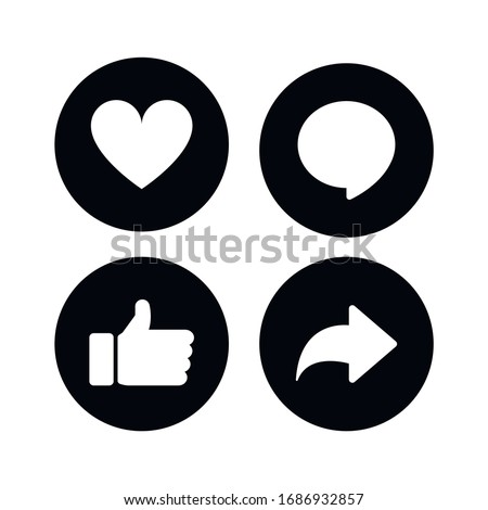 Thumbs up, heart, comment and repost icons on a white background.