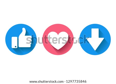 Thumbs up,  heart icon and  new downvote icon on a white background. Facebook like, facebook icon, social media icon, empathetic emoji reactions