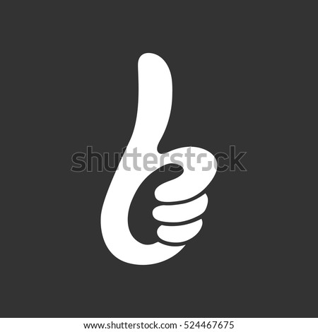 Thumbs up icon isolated on black background. Thumbs up vector logo. Flat design style. Modern vector pictogram for web graphics - stock vector