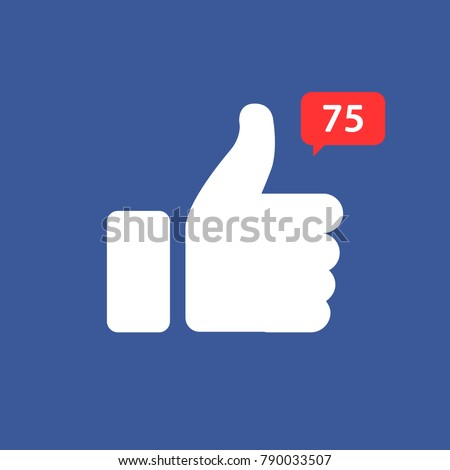 Thumbs up icon with appreciation number symbol. Vector illustration