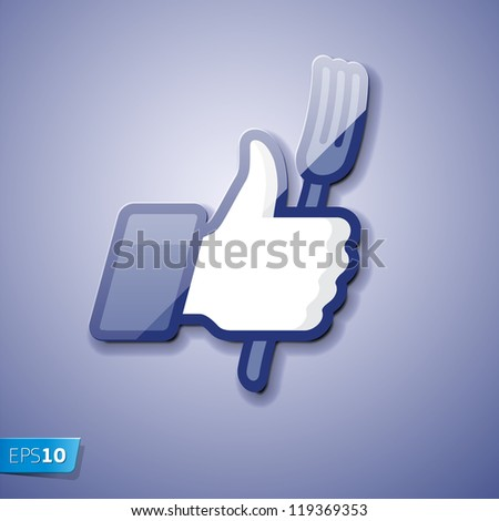 Thumbs Up icon with fork, vector Eps 10 illustration