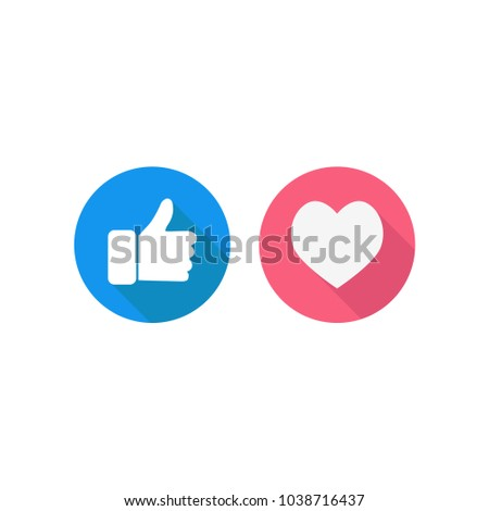 Thumbs up, like and hearts vector illustration