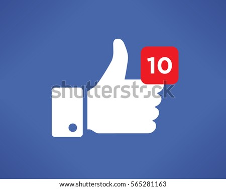 Thumbs up like social network icon with new appreciation number symbol. Idea - blogging and online messaging.